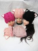 36 Units of Kitty Knitted Beanie Hat With Ear's - Winter Beanie Hats