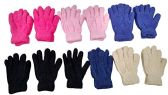 12 Pair Pack Of excell Kids Warm Winter Colorful Magic Stretch Gloves And Mittens (Solid Soft Fuzzy) - Kitchen Gloves