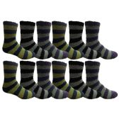 12 Units of 12 Pair Of SOCKSNBULK Mens Striped Winter Warm Fuzzy Socks, Sock Size 10-13 #1468 - Men's Fuzzy Socks