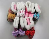 60 Units of Girls Animal Slipper Boots with Fur Cuff - Girls Slippers