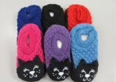 144 Units of Girls Knit Slippers Cat Slippers - Girls Slippers