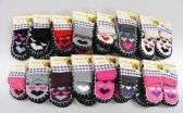 126 Units of Girls Heart Printed Slipper Socks With Rubber Sole - Girls Slippers