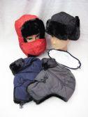 36 Units of Mens Faux Fur Winter Pilot Hat - Winter Helmet Hats