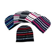 48 Units of Child's Knit Beanie Stripes Hat - Junior / Kids Winter Hats