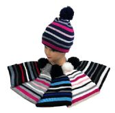 36 Units of Child's Knit Cuffed Hat with Pom Pom And Stripes - Junior / Kids Winter Hats