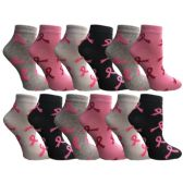 12 Pairs Womens Breast Cancer Awareness Socks, Pink Ribbon Value Pack (Ankle Socks, 12 Pairs (Ankle Socks) - Breast Cancer Awareness Socks