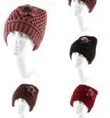 36 Units of Woman's Heavy Knit Winter Hat Flower Design - Winter Hats