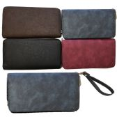 24 Units of 1 Zipper Wallets Dark Faded Style - Wallets & Handbags