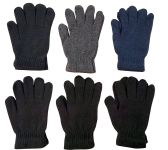 6 Pairs Of excell Solid Color Wool Gloves - Mens Womens, Stretchy so One Size - Store
