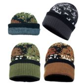 36 Units of Winter Knit Hat With Fleece Lining In Camo - Winter Beanie Hats