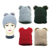 36 Units of Winter Fashion Two Pom Pom Knit Hat - Winter Beanie Hats