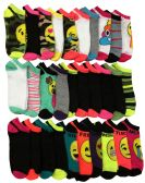 600 Units of 30 Pairs of WSD Womens Ankle Socks, Low Cut Sports Sock - Assorted Styles - Womens Ankle Sock