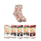 24 Units of Plush-Lined Printed Thermal Socks (Non-Slip) 7-12 - Womens Slipper Sock