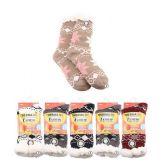 24 Units of Plush-Lined Printed Thermal Socks (Non-Slip) 7-12 - Womens Slipper Sock