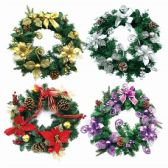 12 Units of Christmas Tinsel Wreath 12 Inch - Christmas Ornament