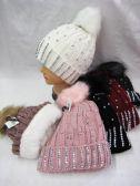 36 Units of Women's Fur Lined Rhinestone Pom Pom beanie - Winter Beanie Hats