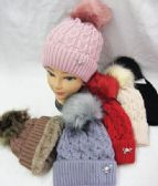 36 Units of Womens Fur lined Pom Pom beanie - Winter Beanie Hats