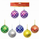 96 Units of Eight Centimeter Two Pack Ornament Ball - Christmas Ornament