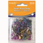 96 Units of Metallic Color Push Pin Fifty Count - Push Pins and Tacks
