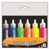 96 Units of Neon Color Glitter Glue Six Pack - Craft Glue & Glitter