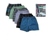 144 Units of Men Woven Boxer Shorts with Button - Mens Underwear