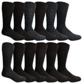12 Units of Yacht & Smith Mens Fashion Designer Dress Socks, Cotton Blend Assorted - Mens Dress Sock