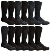 12 Pairs of excell Mens Fashion Designer Dress Socks, Cotton Blend (Assorted N) - Mens Dress Sock