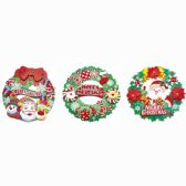 96 Units of Xmas Cutout Wreath - Christmas Decorations