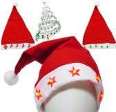 60 Units of Flashing Santa Hats With Music - Christmas Decorations