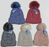 24 Units of Ski Hat With Fur Pompom And Lining - Winter Beanie Hats