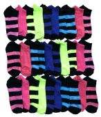 30 Units of Yacht & Smith Womens 9-11 No Show Ankle Socks Assorted Prints, Stripes And Solids - Womens Ankle Sock
