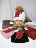 36 Units of Women's Rose Winter Beanie With Pom Pom - Winter Beanie Hats