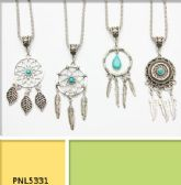 96 Units of Assorted Simulated Turquoise Dream Catcher Necklace - Necklace