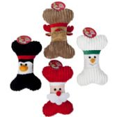 72 Units of Dog Toy Christmas Plush Bone - Christmas Novelties