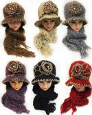 24 Units of Winter Knitted Lady Hat and scarf Set Assorted Colors - Winter Sets Scarves , Hats & Gloves
