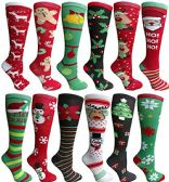 Christmas Printed Socks, Fun Colorful Festive, Crew, Knee High, Fuzzy, Or Slipper Sock by WSD (12 Pairs Knee High Socks) - Store