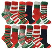 Christmas Printed Socks, Fun Colorful Festive, Crew, Knee High, Fuzzy, Or Slipper Sock by WSD (12 Pairs Fuzzy Socks) - Store