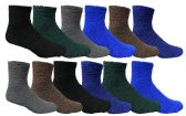 12 Units of 12 Pairs Of SOCKSNBULK Mens Soft Warm Fuzzy Socks, Solid Colors, #1469,Assorted,10-13 - Men's Fuzzy Socks
