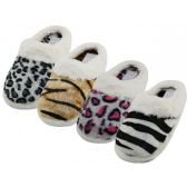 48 Units of Women's Close Toe Plush Animal Print Upper With Faux Fur Cuff House Slippers - Women's Slippers