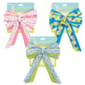 48 Units of Easter Basket Bow Fabric W/3ast Print Ribbon 7x10 Easter Tcd Yellow/blue/pink - Easter
