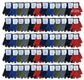 60 Pair Pack Wholesale Kids Winter Warm Stretch Gloves, Many Colors - Knitted Stretch Gloves