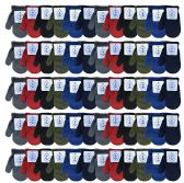 60 Units of Wholesale Kids Winter Warm Stretch Mittens, Many Colors - Knitted Stretch Gloves
