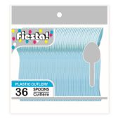 96 Units of Thirty Six Count Spoon Pastel Blue - Disposable Cutlery