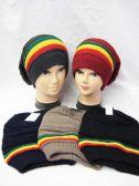 36 Units of Mens Rasta Slouch Beanie Hat - Winter Beanie Hats