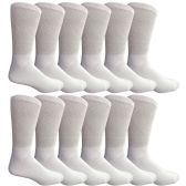 12 Pairs of Multi Pack Diabetic Cotton Crew Socks Soft Non-Binding Comfort Socks (10-13) By Yacht & Smith - Men's Diabetic Socks
