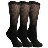 3 Pairs of Multi Pack Diabetic Cotton Crew Socks Soft Non-Binding Comfort Socks (9-11) by Yacht & Smith - Women's Diabetic Socks