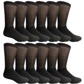 12 Units of SOCKSNBULK Mens Cotton Diabetic Non-Binding Crew Socks Size 10-13 Black  - Men's Diabetic Socks