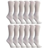 12 Pairs of Multi Pack Diabetic Cotton Crew Socks Soft Non-Binding Comfort Socks (9-11) by Yacht & Smith - Women's Diabetic Socks