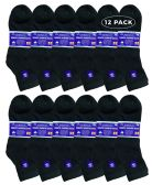 12 Units of Yacht & Smith Men's King Size Loose Fit Non-Binding Cotton Diabetic Ankle Socks Black Size 13-16 - Big And Tall Mens Diabetic Socks