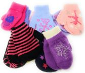 72 Units of Colorful Cute Toddlers Assorted Mittens 2-Pack - Knitted Stretch Gloves